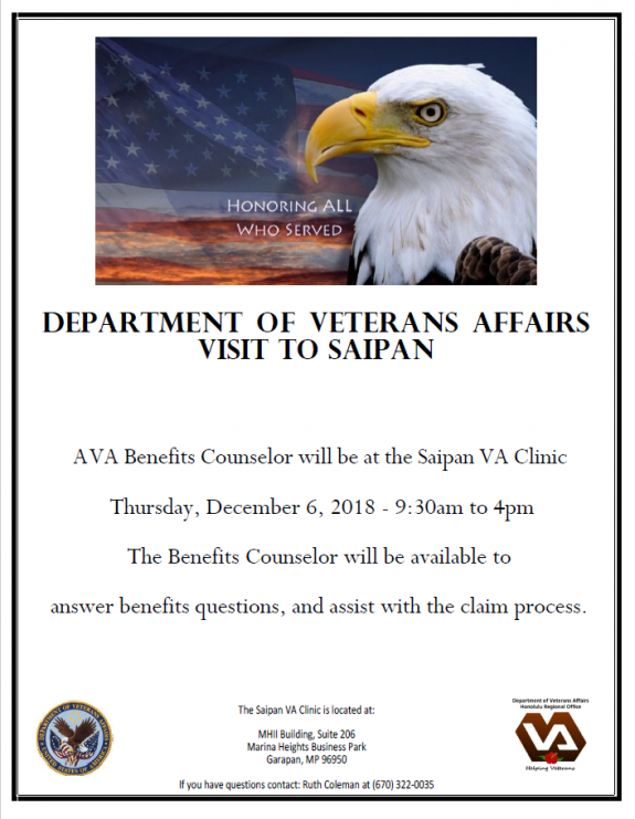 Vets benefits counselor this week